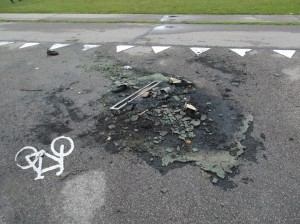 Afbrændt containe fra Sønderby børnehaver